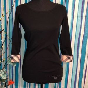 Burberry Black 3/4 Sleeve Nova Check Cuff Top